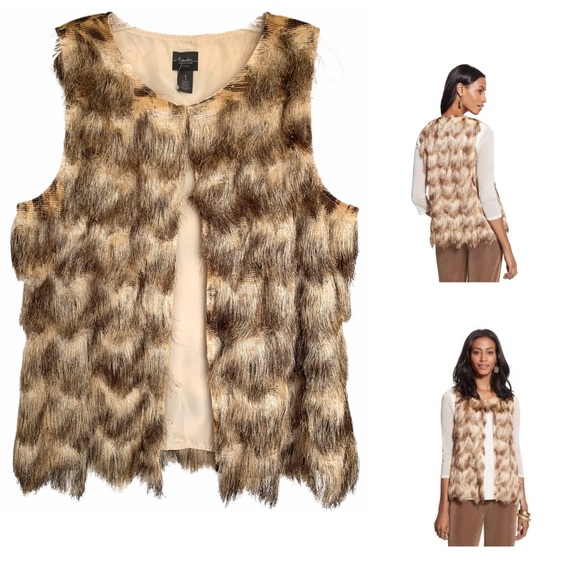 Chico's Jackets & Blazers - CHICO'S TRAVELERS COLLECTION FAUX-FUR VEST
